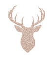 polygonal brown head of a wild deer vector image vector image