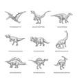 prehistoric dinosaurs sketch signs symbols or vector image