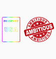 rainbow colored pixel usa passport icon and vector image vector image