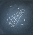 rocket icon on chalkboard vector image