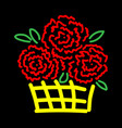 roses in basket sign 3211 vector image vector image