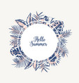 round garland or frame made of palm tree leaves vector image vector image