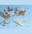 Sea Port Isometric Infographics vector image vector image