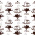 seamless background a coffee cup and a cake vector image