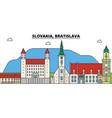 slovakia bratislava outline city skyline linear vector image vector image