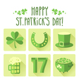 St Patricks Day icon set in flat design vector image vector image