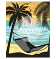Summer beach with Hammock and Palm trees Card vector image vector image