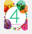 template 4 years anniversary congratulations vector image vector image