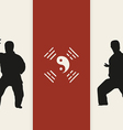 two men are engaged in karate on a red background vector image vector image