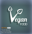 Vegan food graphic design icon On the blue-green vector image vector image