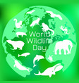 world wildlife day different animals on the vector image