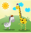 zebra and giraffe vector image
