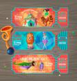 cartoon circus show invitation tickets set vector image