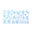 blue happy new year 2018 line vector image vector image