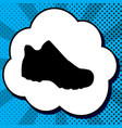 boot sign black icon in bubble on blue vector image