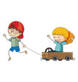 boy and grilt playing cart vector image