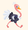 cartoon cute ostrich vector image