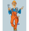 cartoon plumber in uniform comes with tools vector image vector image