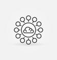 cloud computing thin line concept icon vector image