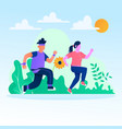 couple jogging together in park vector image vector image