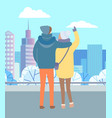 couple stand in winter park and look at landscape vector image vector image