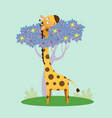 cute giraffe standing with tree vector image