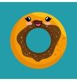 cute kawaii donut sweet desert icon vector image