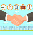 deal and drawing up contract vector image vector image