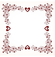 decorative frame with hearts vector image vector image