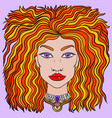 doodle girls face womens boho portrait vector image
