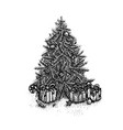 dotwork christmas tree vector image vector image
