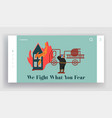 fire rescue department landing page fireman vector image