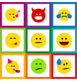 flat icon gesture set of pouting frown laugh and vector image vector image
