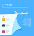 fly fast poster with propeller airplane vector image