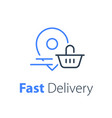 food delivery grocery basket and location pin vector image