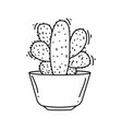 gardening cactus icon hand drawn icon set outline vector image