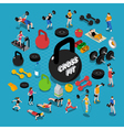 Gym Isometric Composition vector image vector image