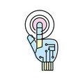 hand with finger touch and circuits digital vector image