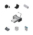 isometric office set of printing machine laptop vector image vector image