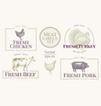 labels with farm animals set templates logotype vector image