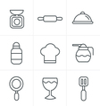 Line Icons Style Cooking Foods and Kitchen outline vector image vector image