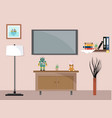 living room with tv furniture workspace vector image