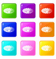love flower icons set 9 color collection vector image vector image
