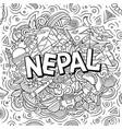 nepal hand drawn cartoon doodles vector image vector image