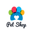 pet shop logo pet paw with heart on white vector image