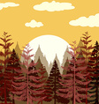 Pine forest at sunset vector image