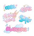 positive cute cartoon little girl and princess vector image