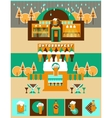 Pub and Bar set with Beer icons and Label vector image vector image
