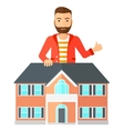 Real estate agent showing thumb up vector image vector image