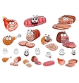 Sausages and meat cartoon characters vector image vector image